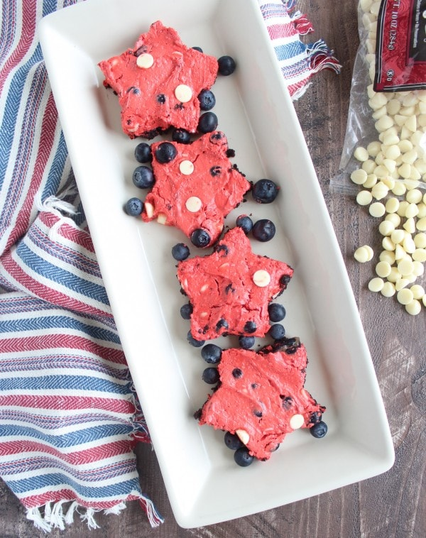 Frozen Red Velvet Cheesecake Bars for 4th of July