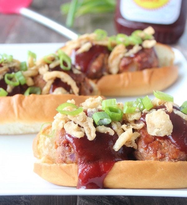 BBQ Meatball Subs with Crispy Onions