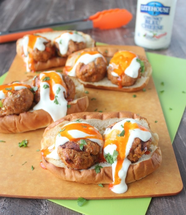 Buffalo Turkey Meatball Subs with Chunky Blue Cheese Dressing