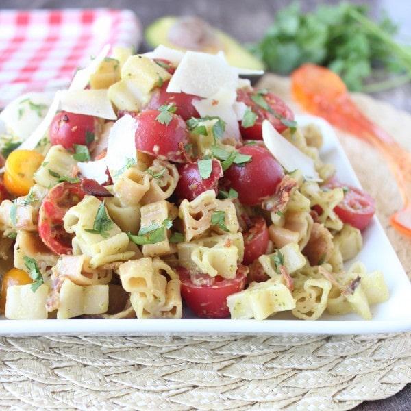 Bacon Tomato Pasta Salad with Avocado Dressing