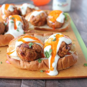 Buffalo Turkey Meatball Subs