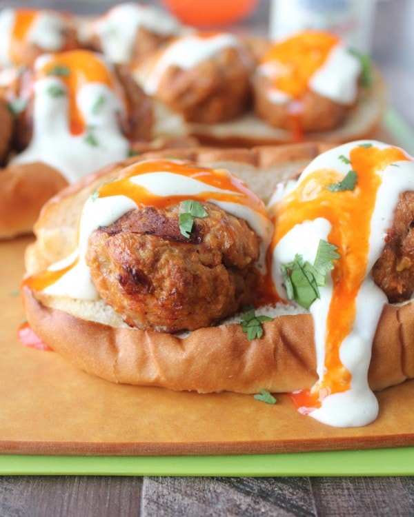 Buffalo Turkey Meatball Subs