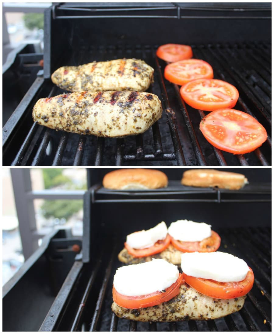 Pesto chicken and tomatoes on the grill