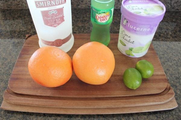 Grapefruit Lime Sherbet Float Cocktail Ingredients