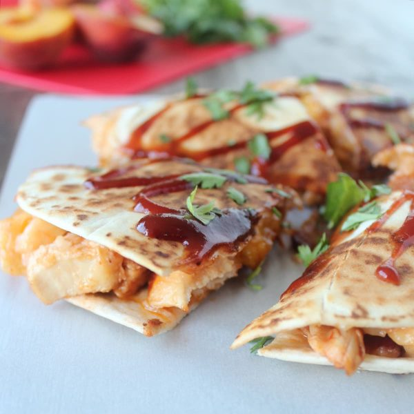 BBQ Chicken Peach Bacon Cheddar Quesadilla Recipe