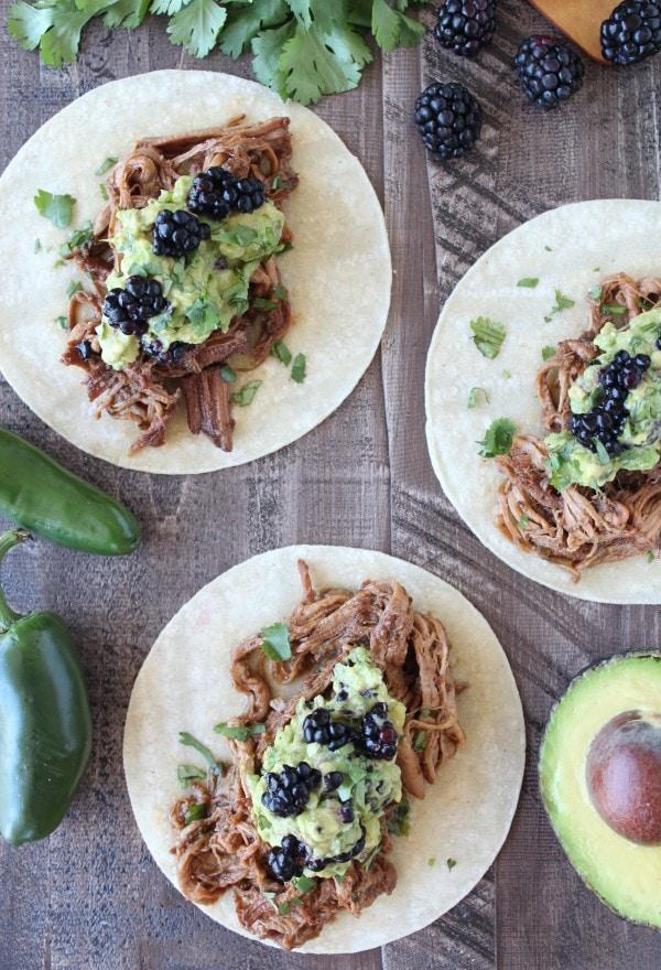 Blackberry Jalapeno Pulled Pork Tacos