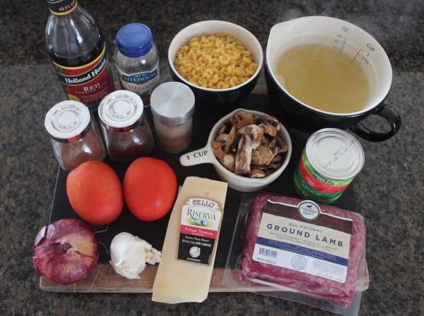 Mediterranean Lamb and Mushroom Pasta Ingredients