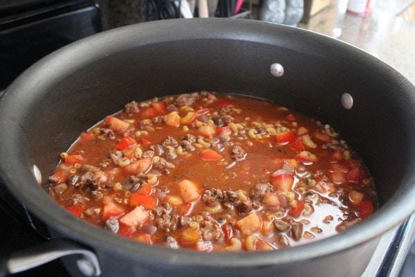 One Pot Mediterranean Lamb and Mushroom Pasta Recipe