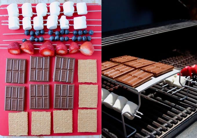 collage of images showing how to make grilled berry smores