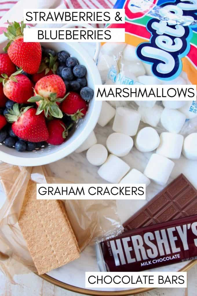 Ingredients for berry s'mores