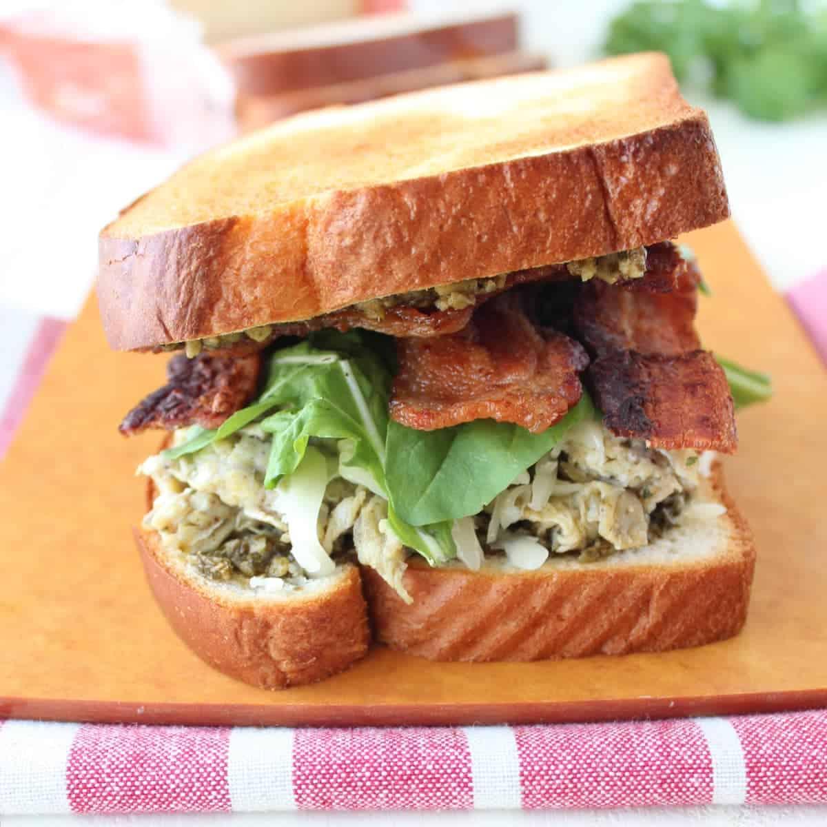 Pesto Egg and Bacon Breakfast Sandwich