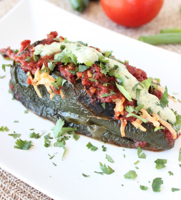 Ground Beef Stuffed Poblano Pepper Enchiladas