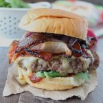 Sriracha Candied Bacon Brie Cheeseburger