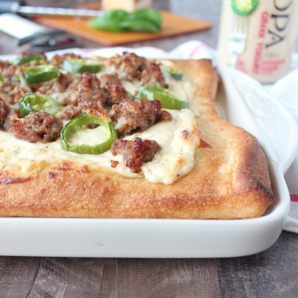 Jalapeno Sausage Pizza with 3 Cheese Jalapeno Ranch Sauce