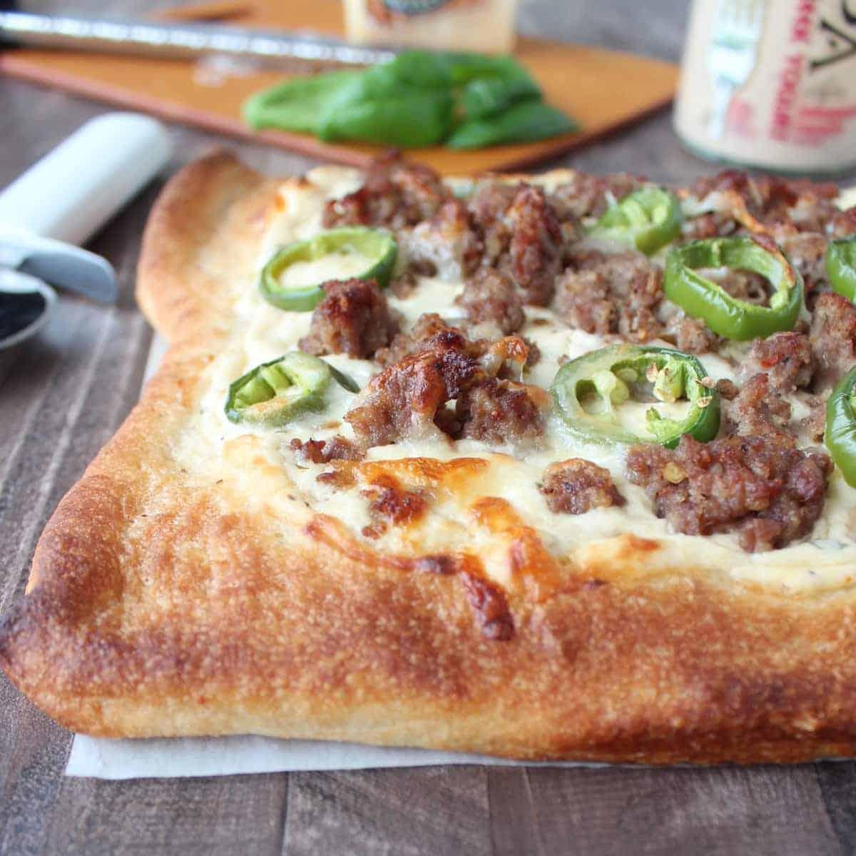 Jalapeño Sausage Pizza with 3 Cheese Jalapeño Ranch Sauce