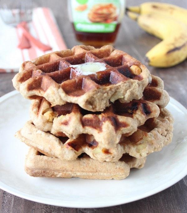 Crispy Peanut Butter Banana Gluten Free Waffles Recipe