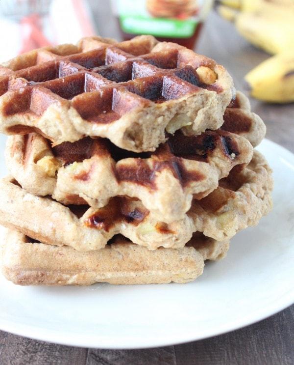 Crispy Banana Peanut Butter Waffles
