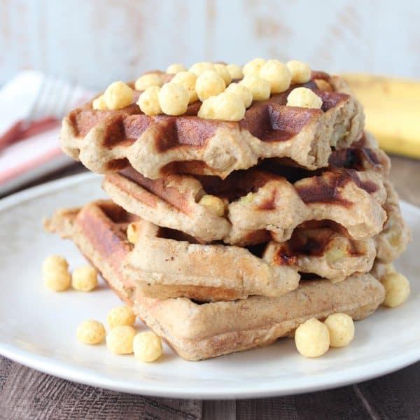 Crispy Peanut Butter Banana Gluten Free Waffles