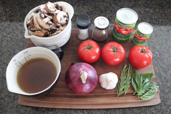 Slow Cooked Mushroom Ragu Ingredients
