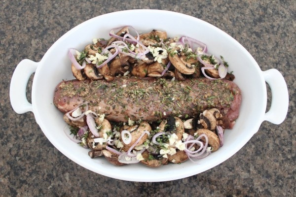 Herb Rubbed Pork Tenderloin with Red Wine Mushroom Sauce Recipe