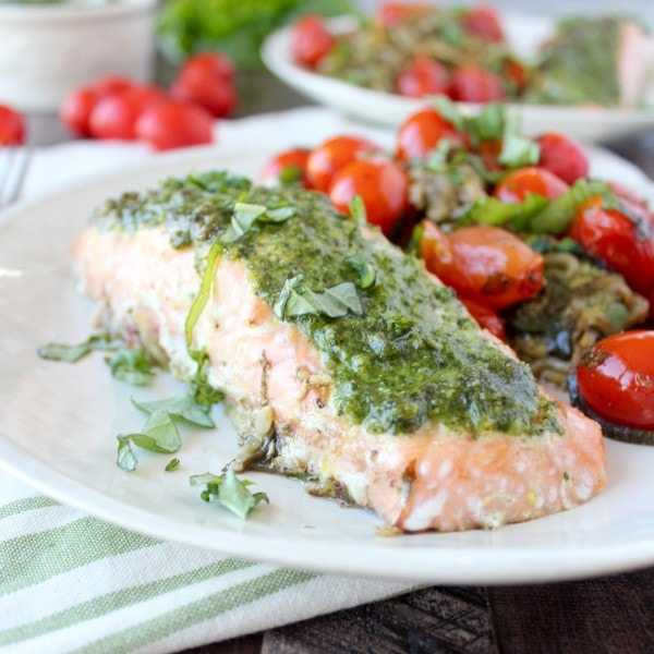 Pesto Baked Salmon with Zucchini Noodles