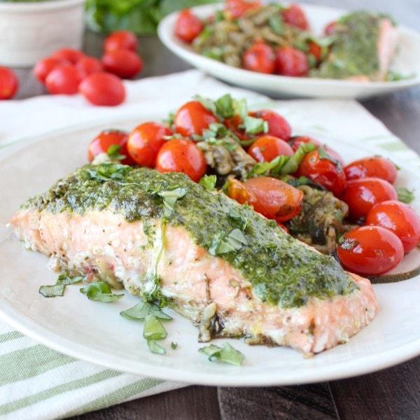 Pesto Baked Salmon Foil Dinner