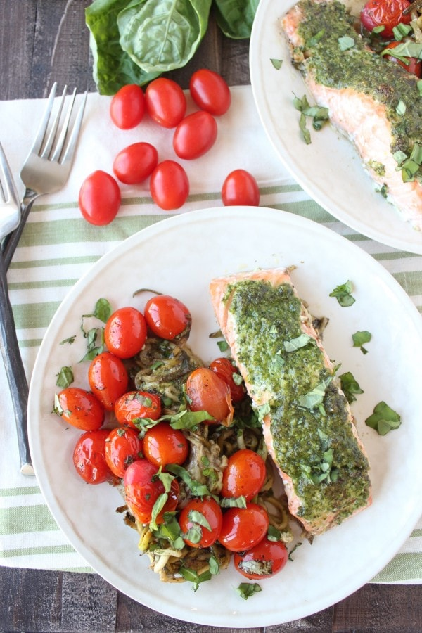 Pesto Baked Salmon and Zucchini Noodle Foil Dinner
