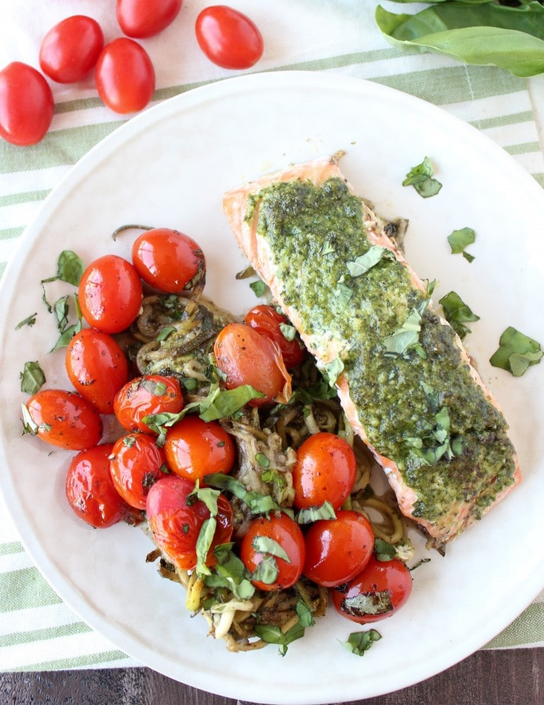takes a healthy twist on the foil dinner with pesto baked salmon ...
