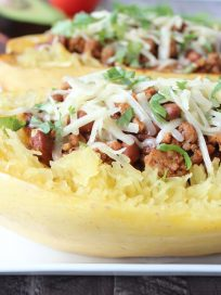 Turkey Chili Stuffed Spaghetti Squash