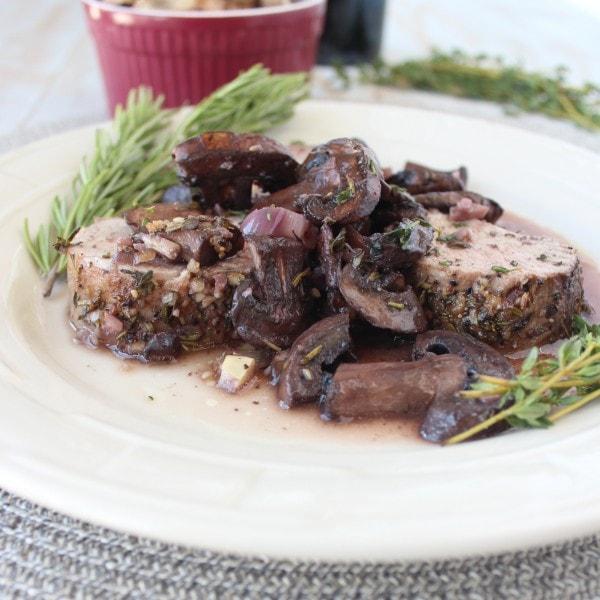 Herb Rubbed Pork Tenderloin Recipe in Red Wine Mushroom Sauce