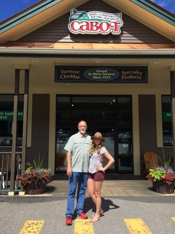 Whitney Bond and Dad at the Cabot Cheese Store in Vermont