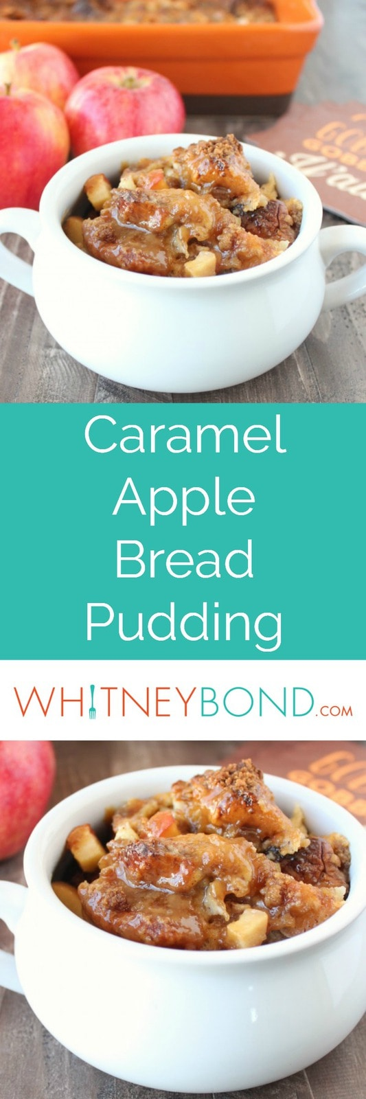 This fall inspired Caramel Apple Bread Pudding recipe, prepared with Hawaiian rolls & caramel sauce, is easy to make & delicious for breakfast or dessert!