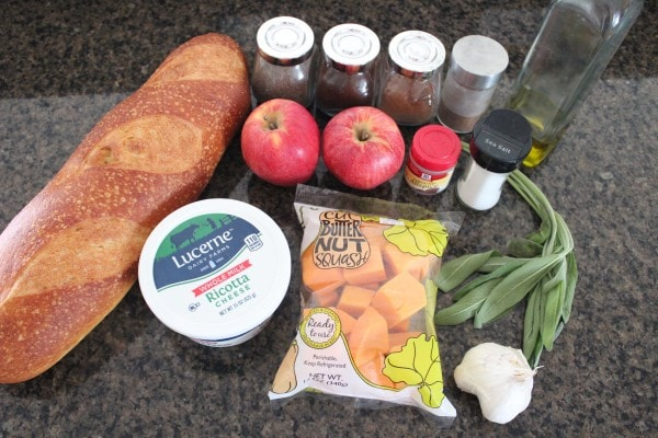 Butternut Squash Apple Bruschetta Ingredients