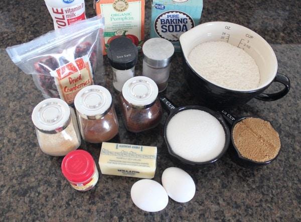 Cranberry Pumpkin Bread Ingredients