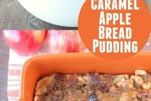 Caramel apple bread pudding in orange baking dish and white crock