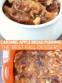 Apple bread pudding in white bowl and in orange casserole dish