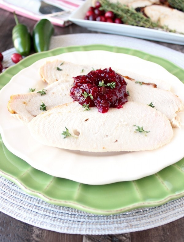 Oven Roasted Turkey with Cranberry Jalapeno Relish
