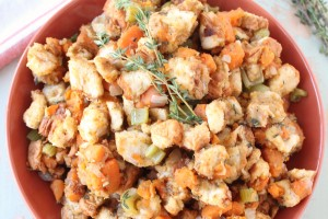 Let this delicious sweet potato stuffing recipe slow cook while preparing your Thanksgiving meal, leaving extra space in the oven & saving you time!