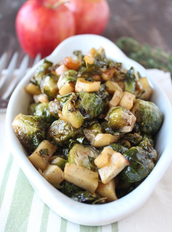 Maple Roasted Brussels Sprouts and Apples