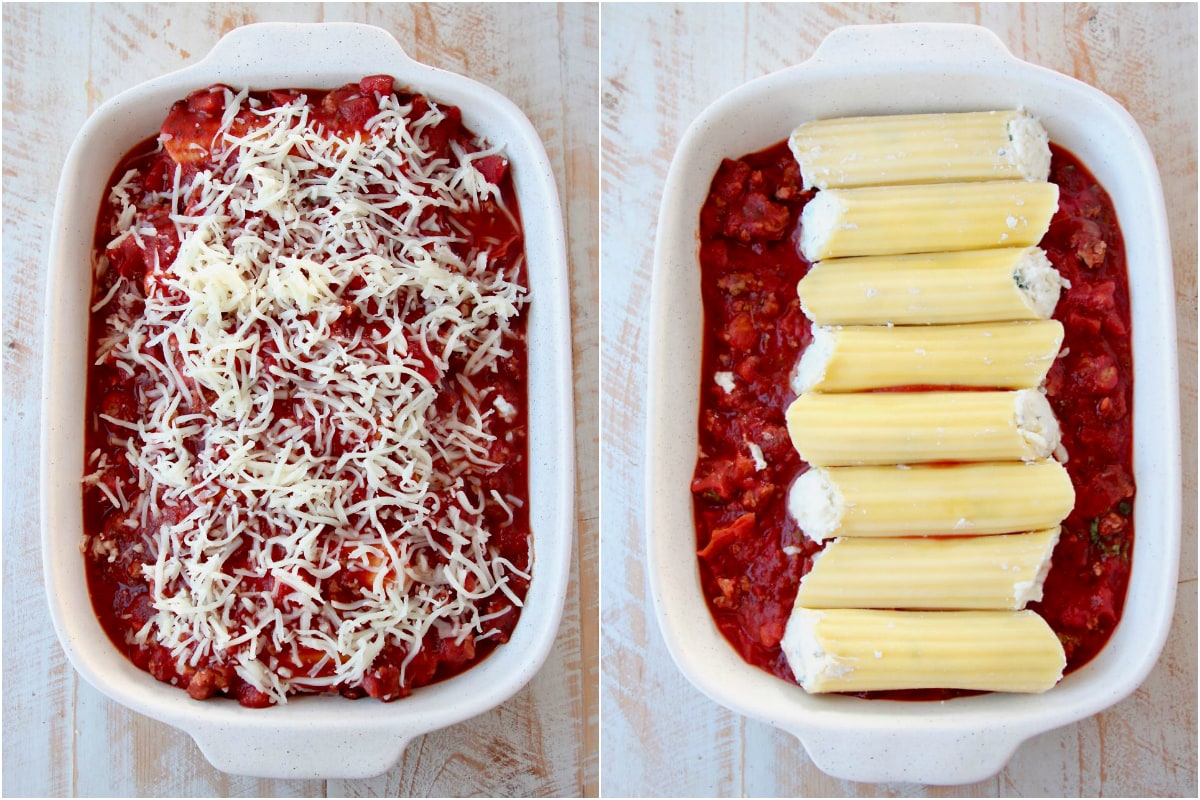 Instructional images for how to make cheese manicotti with marinara sauce
