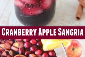 Cranberry apple sangria in punch bowl and mason jar