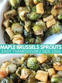 roasted brussels sprouts and apples in white serving dish