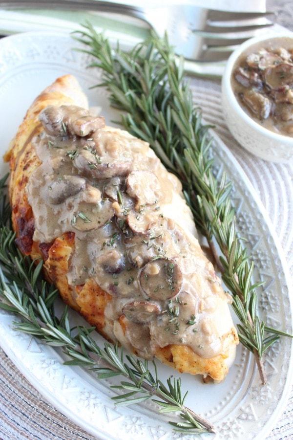 Roasted Turkey Breast with Blue Cheese Mushroom Gravy Recipe