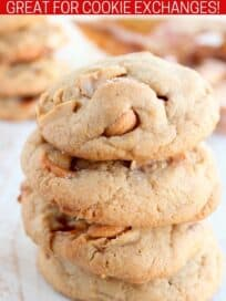 Three cashew cookies stacked up