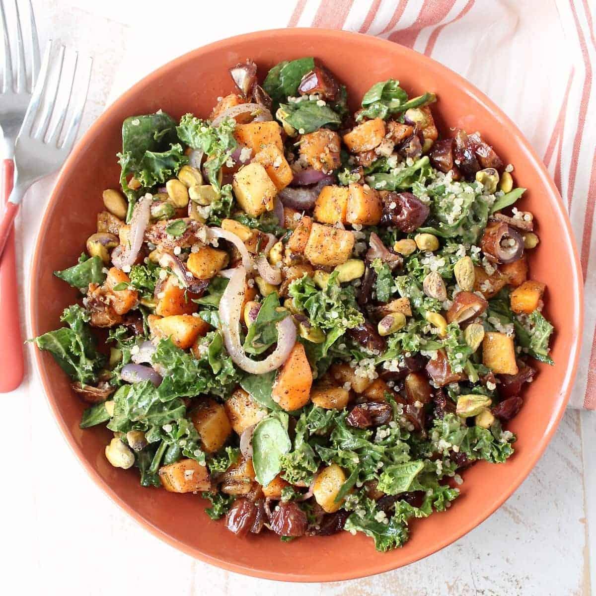 Roasted Butternut Squash Kale SaladWhitneyBond.com
