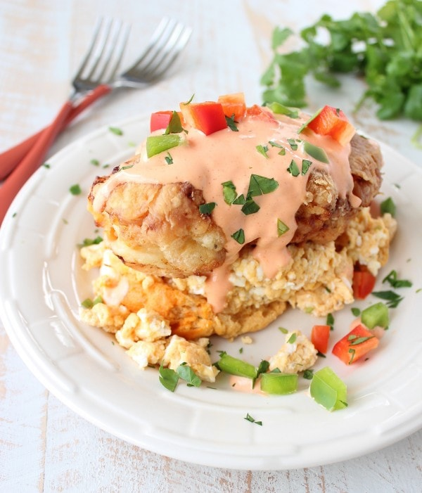 Buffalo Fried Chicken Eggs Benedict
