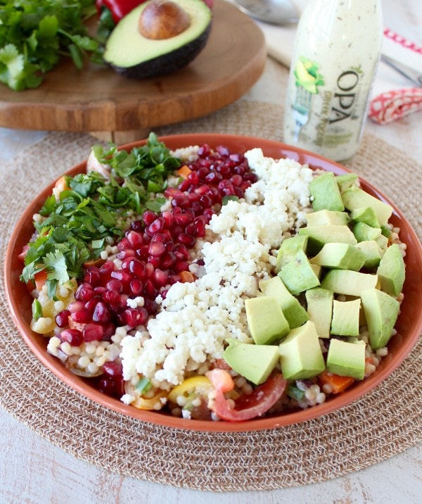 Israeli couscous provides a healthy, high fiber base to the salad ...