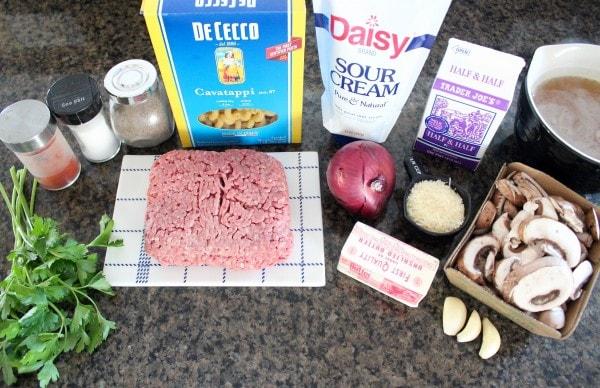 Easy One Pot Beef Stroganoff Recipe Ingredients