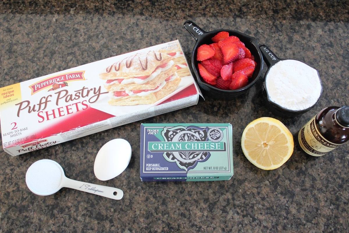 Heart Shaped Strawberry Cheesecake Puff Pastry Pies Ingredients