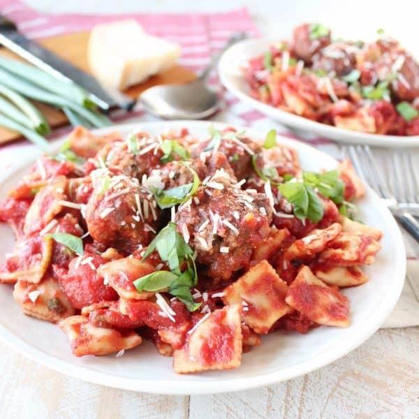 Slow Cooker Italian Meatballs & Ravioli